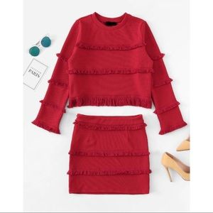 Textured Fringe Crop Top & Skirt Set